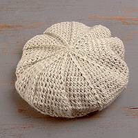 100% alpaca beret, 'Snowy Pinwheel' - Ivory Color Alpaca Beret Hat Crocheted by Hand in Peru