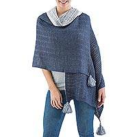 100% alpaca shawl, 'Puno Blue' - Shawl Alpaca Wrap in Blue and Off White from Peru