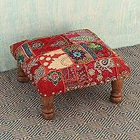 Embellished ottoman, 'Rajasthan Illusions' - Fair Trade Embellished Foot Stool Ottoman from India