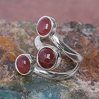 Rhodochrosite wrap ring, 'A Hug and Three Kisses' - Andean Silver Wrap Ring with 3 Rhodochrosite Gemstones