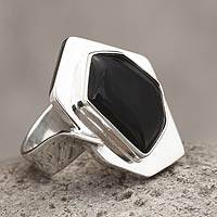 Sterling silver cocktail ring, 'Dark Star' - Black Obsidian Geometric Silver Cocktail Ring