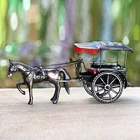 Iron sculpture, 'Borobudur Carriage' - Handmade Miniature Javanese Horse and Carriage Sculpture