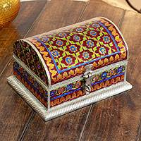 Meenakari jewelry box, 'Mughal Treasure' - Indian Meenakari Enameled Jewelry Box