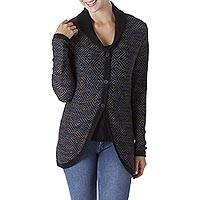100% alpaca cardigan, 'Textured Andes in Black' - 100% Alpaca Wool Patterned Cardigan Black and Iris from Peru