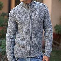Men's 100% alpaca jacket, 'Cloudfall' - Men's Alpaca Wool Zip Cardigan Sweater