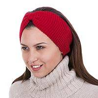 100% alpaca ear warmer, 'Crimson Bow' - Knitted Red 100% Alpaca Wool Ear Warmer from Peru