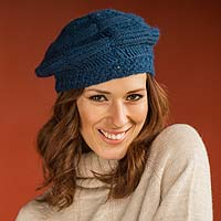 100% alpaca hat, 'Beautiful Blue' - Blue Alpaca Beret Hat Knitted and Crocheted by Hand