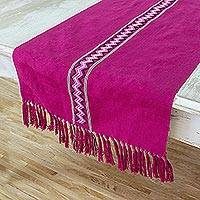 Cotton table runner, 'Jungle Orchid' - Guatemalan Hand Woven Cotton Table Runner