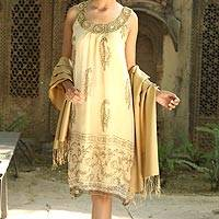 Embellished dress, 'Gujurat Glitz' - Beige Beaded A-Line Golden Dress with Beadwork