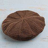 100% alpaca beret, 'Desert Pinwheel' - Alpaca Beret Brown Hat Crocheted by Hand in Peru