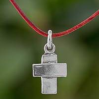 Fine silver pendant necklace, 'Spiritual Inspiration' - Fine Silver Cross Pendant Necklace wth Cord from Guatemala