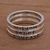 Sterling silver stacking rings, 'Wisdom Belief Courage' (set of 3) - 3 Inspirational Balinese Sterling Silver Stacking Rings