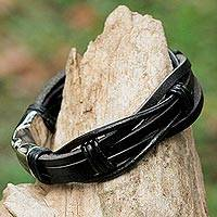 Leather wristband bracelet, 'Dark Strength' - Black Leather and Stainless Steel Wristband Bracelet