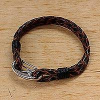 Leather wristband bracelet, 'Braided Couple in Brown' - Brown Leather and Stainless Steel Cord Bracelet from Thailad