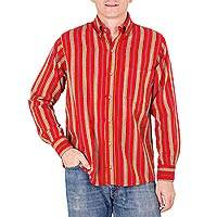 Men's cotton shirt, 'Volcano of Fire' - Men's Red Cotton Long Sleeve Shirt from Guatemala