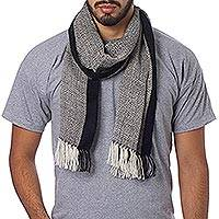 Men's 100% alpaca scarf, 'Solidarity in Black and White' - Unique Alpaca Wool Patterned Scarf