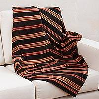 Alpaca blend throw, 'Mountain Deity' - Handwoven Brown and Red Alpaca Blend Throw