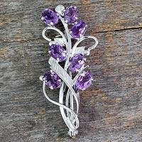 Amethyst floral brooch pin,