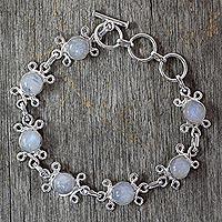 Moonstone flower bracelet,