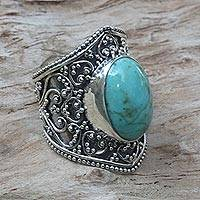 Turquoise ring, 'Moonlight in Turquoise' - Hand Made Sterling Silver Turquoise Ring from Indonesia