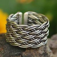 Silver band ring, 'Woven Rattan' - Silver Band Ring from Thailand