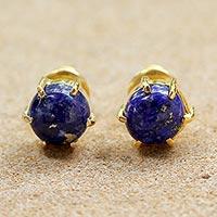 Gold plated lapis lazuli stud earrings,