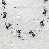 Hematite long chain necklace,