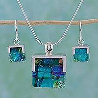 Art glass jewelry set, 'Luminous' (Mexico)