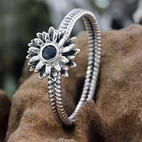 Sapphire ring, 'September Aster' - Floral Sterling Silver and Sapphire Ring