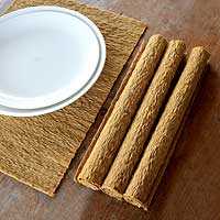 Cotton placemats, 'Earthly Nature' (set of 4) - Natural Fiber Placemats (Set of 4)
