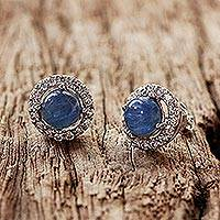 Rhodium plated kyanite button earrings, 'Tossing Ocean' - Rhodium Plated Kyanite and Cubic Zirconia Button Earrings
