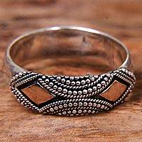 Gold accented sterling silver band ring, 'Golden Stare' - Sterling Silver Ring with Gold Plated Accents
