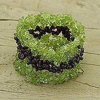 Peridot and garnet bracelet, 'Coquette' - Natural Peridot and Garnet Bracelet from India Jewelry