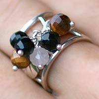 Tiger's eye and onyx cocktail ring, 'From Nature' - Tiger's eye and onyx cocktail ring