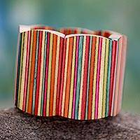 Indian elm wood stretch bracelet, 'Holi Colors' - Handcrafted Wood Stretch Bracelet Modern Jewelry