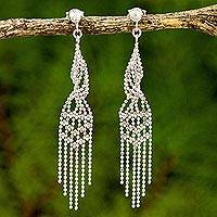 Sterling silver chandelier earrings, 'Magical Chandeliers' - Stunning Sterling Silver Chandelier Earrings from Thailand