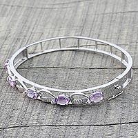 Amethyst bangle bracelet, 'Whisper' (India)