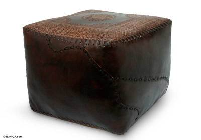 Leather ottoman cover, 'Comfort' - Contemporary Leather Ottoman from Brazil