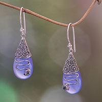 Chalcedony and blue topaz dangle earrings,