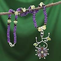 Amethyst and garnet pendant necklace,