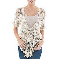 Pima cotton tunic, 'Arequipa Alabaster Dancer' - Hand-crocheted Light Beige Pima Cotton Top from Peru