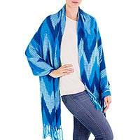 Cotton shawl, 'Teal Sea' - 100% Cotton Shawl with Fringes and Blue Chevron Pattern
