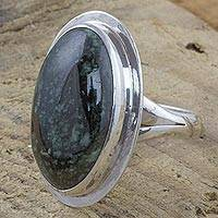 Jade cocktail ring, 'Interplanetary' - Dark Green Jade on Sterling Silver Oval Cocktail Ring