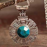 Chrysocolla pendant necklace, 'Inca Sun' - Chrysocolla pendant necklace