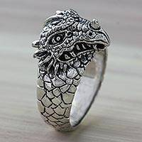 Men's sterling silver ring, 'Dragon Courage' - Animal Themed Sterling Silver Dragon Ring for Men
