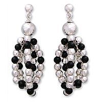 Obsidian cluster earrings,