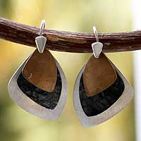 Sterling silver dangle earrings, 'Sails' - Modern Gold Accent Dangle Earrings