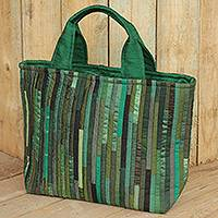 Silk tote bag, 'Exotic Green' - Hand Woven Silk Hill Tribe Tote Bag in Green