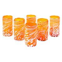Blown glass tumblers, 'Festive Orange' (set of 6) - Set of 6 Orange Artisan Crafted Hand Blown Glasses