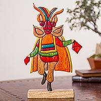 Wood sculpture, 'Diablada' - Multicolor Wood Sculpture of Traditional Andean Dancer